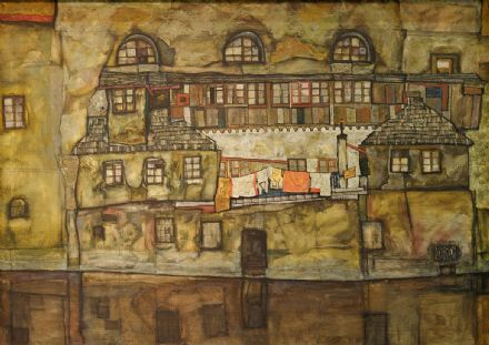 Schiele, Egon: House Wall on the River. Fine Art Print/Poster. Sizes: A4/A3/A2/A1 (003682)
